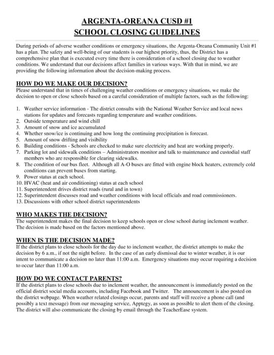 School Closing Guidelines Page 1